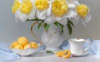 عکس زیبا و حرفه ای از چیدمان زرد آلو و گلدان گل