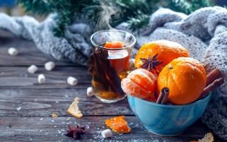 عکس زیبا چای دارچین و نارنگی