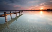 غروب آفتاب ساحل سنگی
