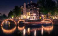 عکس شب زیبای آمستردام هلند