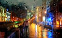 عکس شب بارانی مسکو