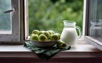 عکس سیب های سبز تازه کنار پنجره جنگلی