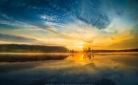 عکس غروب دریاچه یلو استون