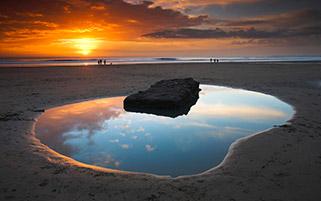 غروب خلیج دانراون،ولز