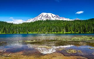 کوه رینر و انعکاس دریاچه