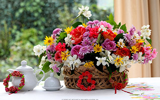سبد گل های رنگارنگ